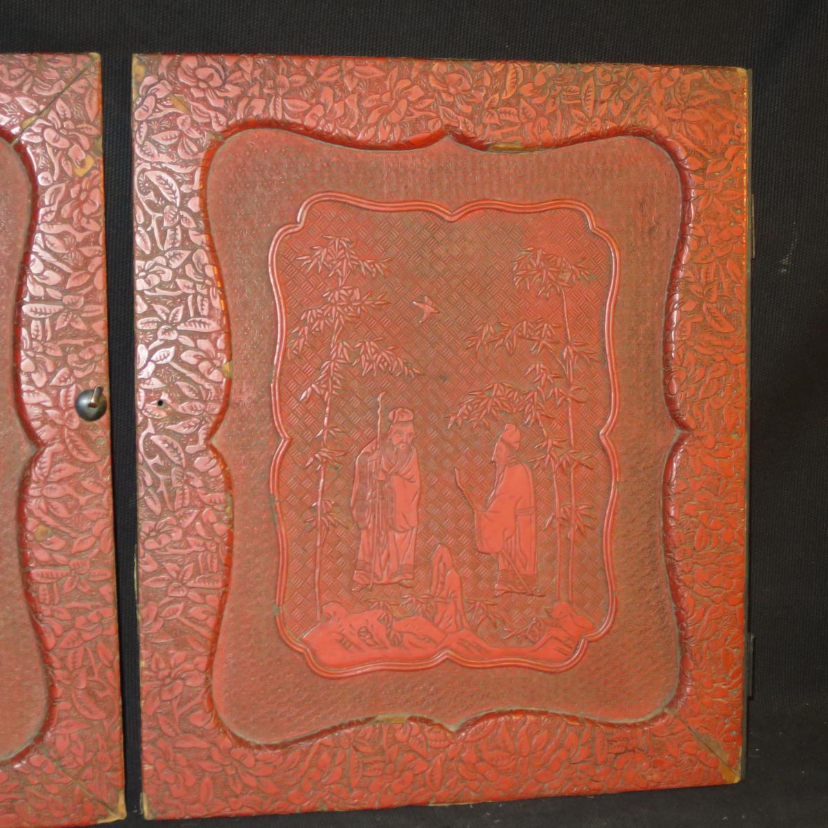 2 Panneaux De Porte Cabinet Xixe En Laque Rouge Decor Chinois Asie  # Porte Laque Chinois