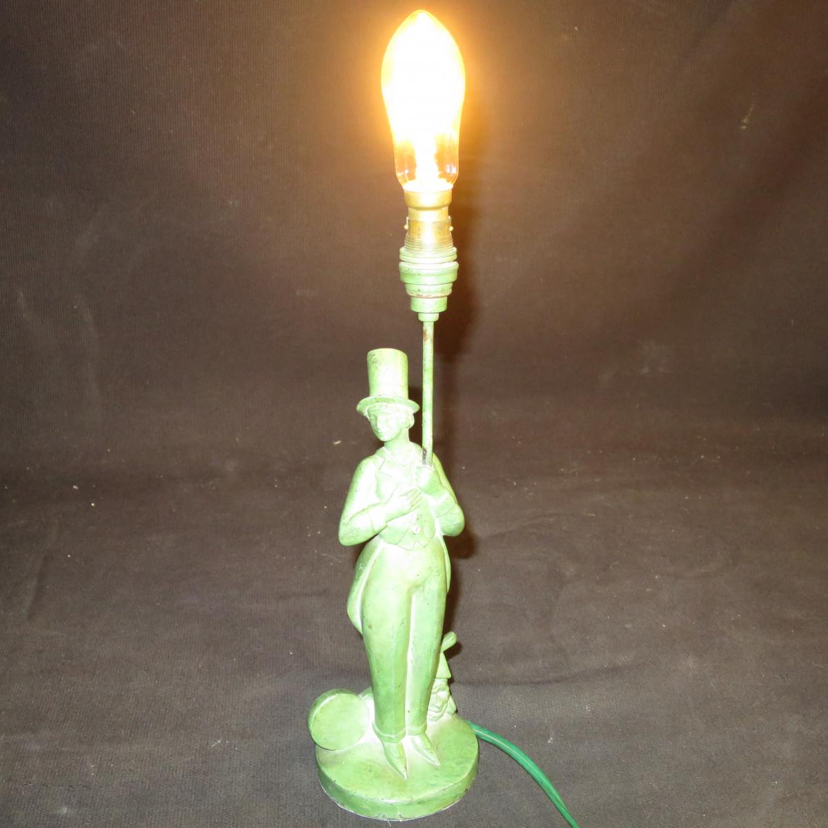 Lamp Sculpture Art Deco Signed Jc Darvel Cirque Comedien In Top Hat Shaped-photo-3