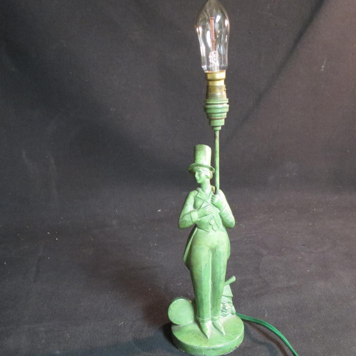 Lamp Sculpture Art Deco Signed Jc Darvel Cirque Comedien In Top Hat Shaped-photo-1