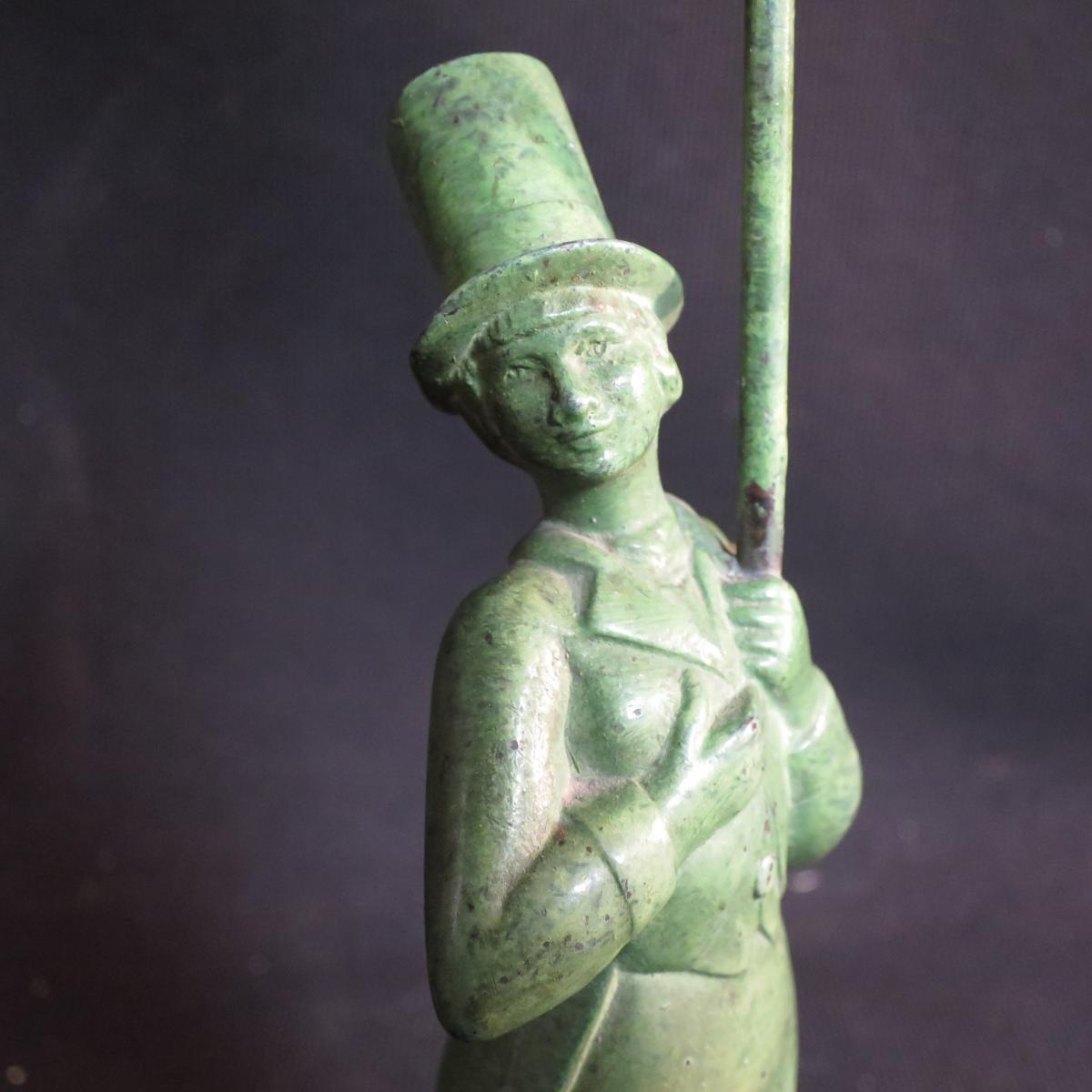 Lamp Sculpture Art Deco Signed Jc Darvel Cirque Comedien In Top Hat Shaped-photo-4