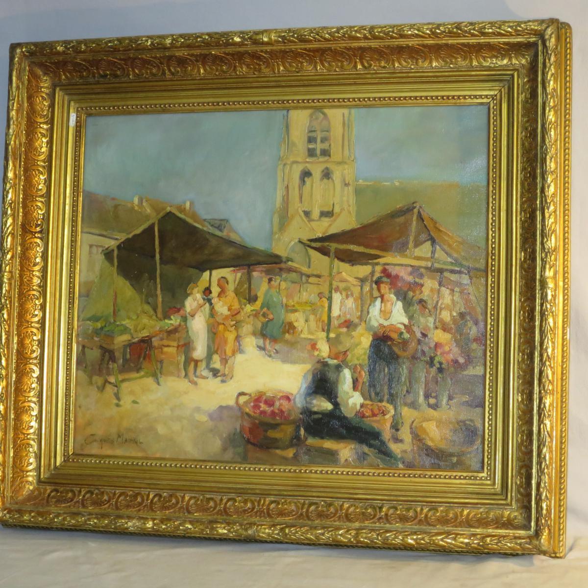 Jacques MADYOL (1871-1950) Le marché aux fleurs en Provence ( Toulon Nice ?) Grande huile sur toile
