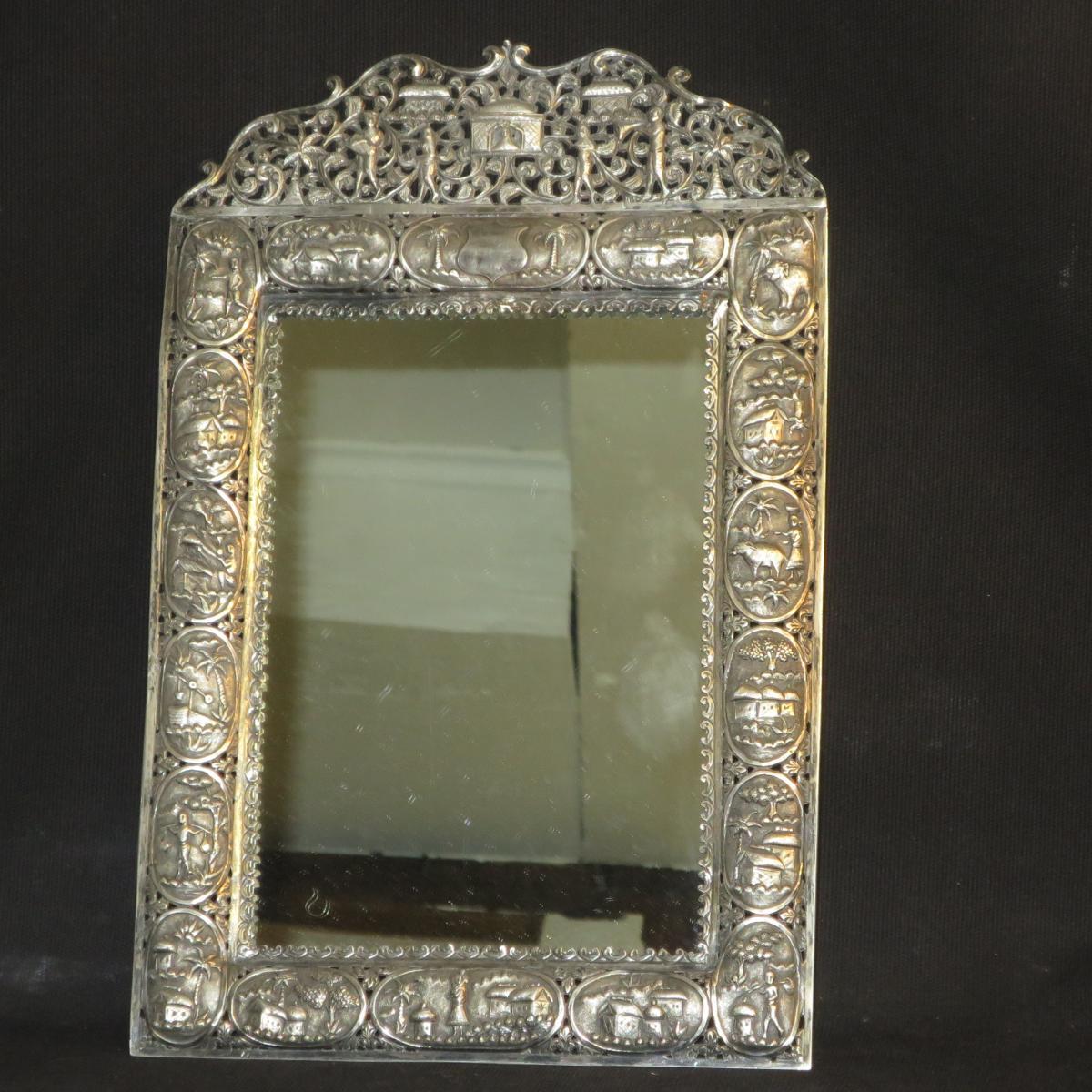 ancien miroir xixe indochine argent bas titre cadre ajour miroirs. Black Bedroom Furniture Sets. Home Design Ideas