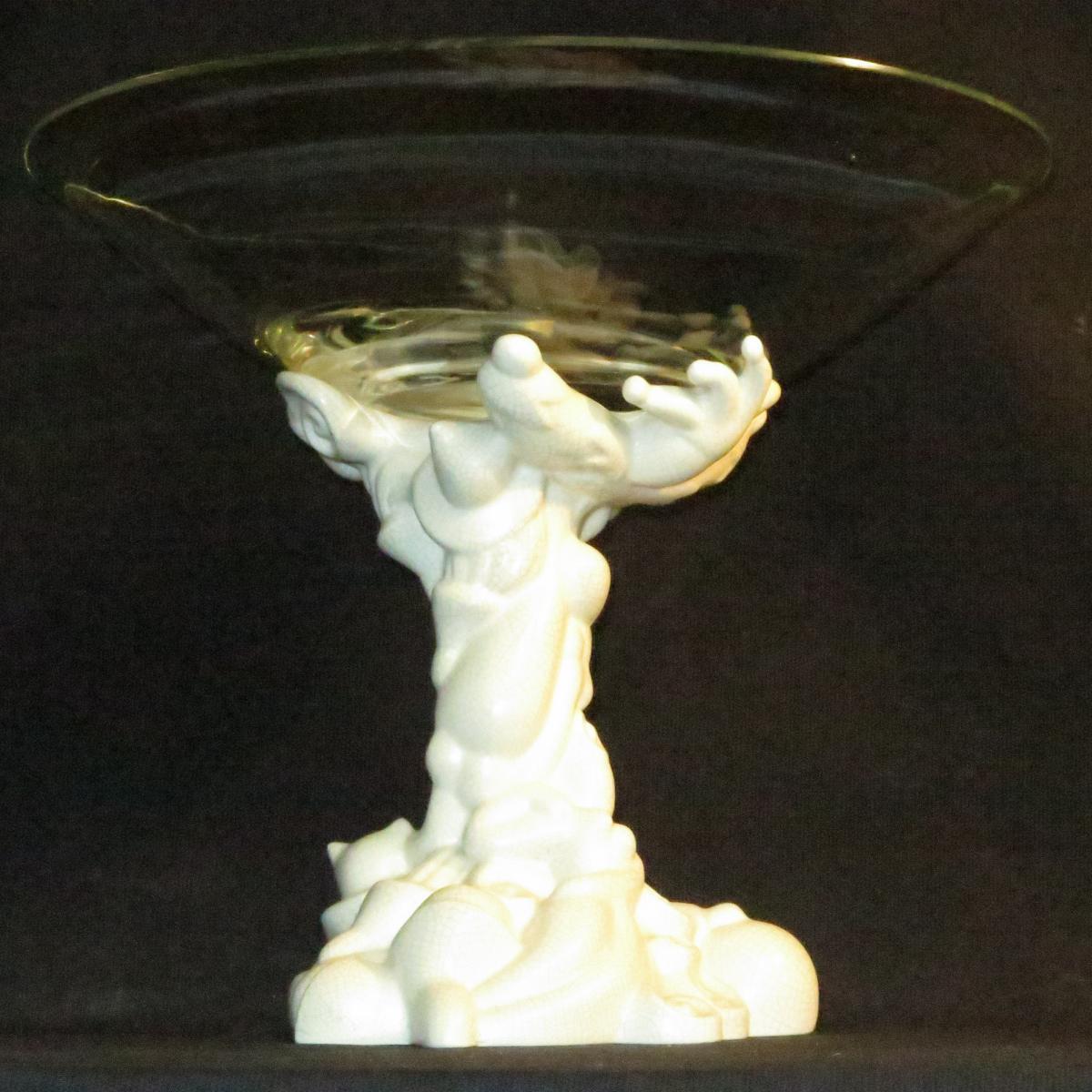 Grande coupe centre de table Jean BOGGIO pour Les Héritiers céramique blanche et verre