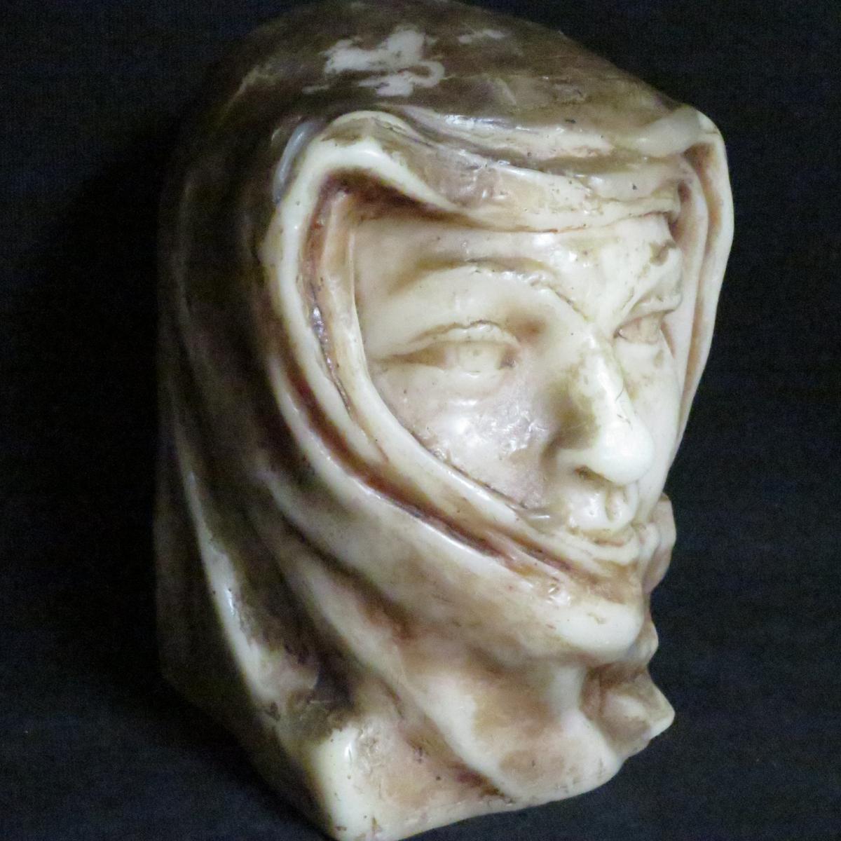 Paul Gaston Déprez Sculpture Bust In Oriental Wax Méhariste Deprez In Avignon