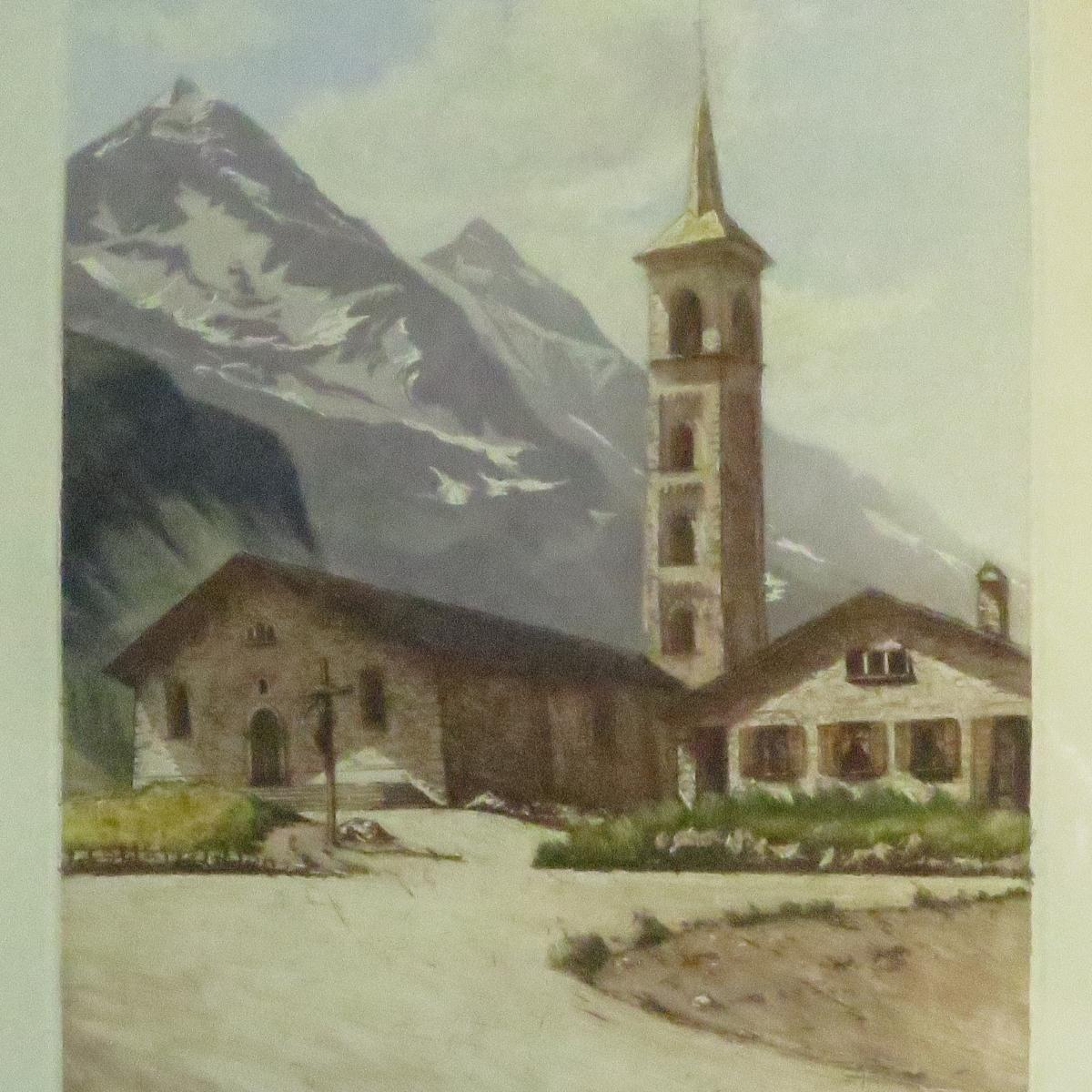 Joanny DREVET (1889-1969) église de TIGNES en Savoie rare aquatinte montagne avec neige 73
