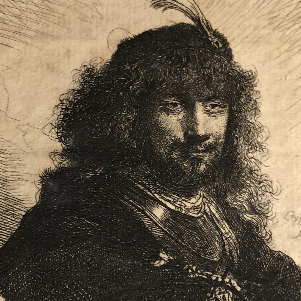 REMBRANDT van Rijn (d'après) Héliogravure XIXe AUTOPORTRAIT