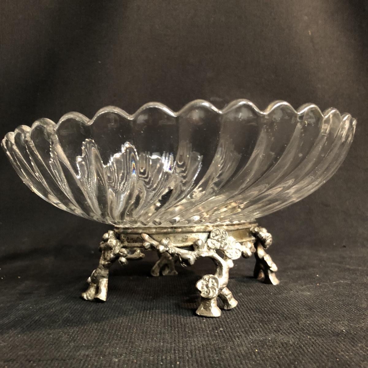 BACCARAT coupe cristal sur pied bronze XIXe double signature