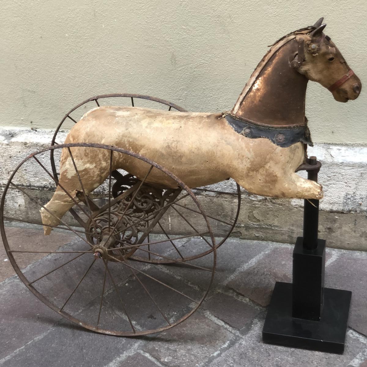 TRICYCLE CHEVAL XIXe décoratif jouet enfant bois et métal vélo 19e
