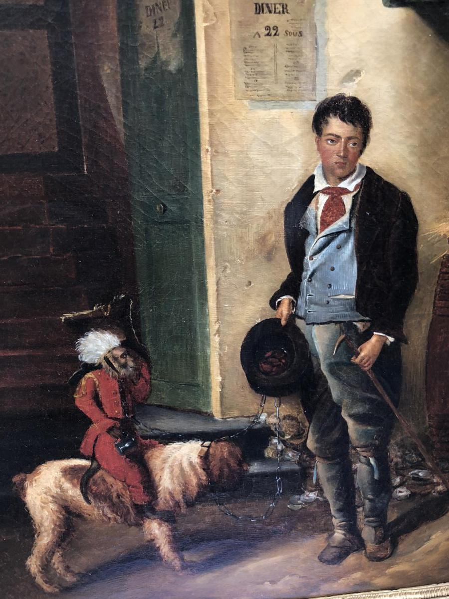 Alexandre Gabriel Decamps In The Taste Young Beggar Monkey Operator Nineteenth Oil On Canvas