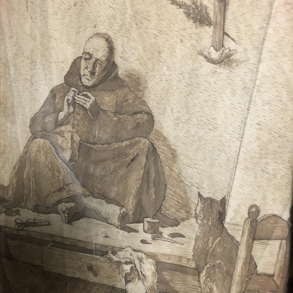 Gustave GARNIER 1865-1922 MOINE à la couture devant un chat XIXe