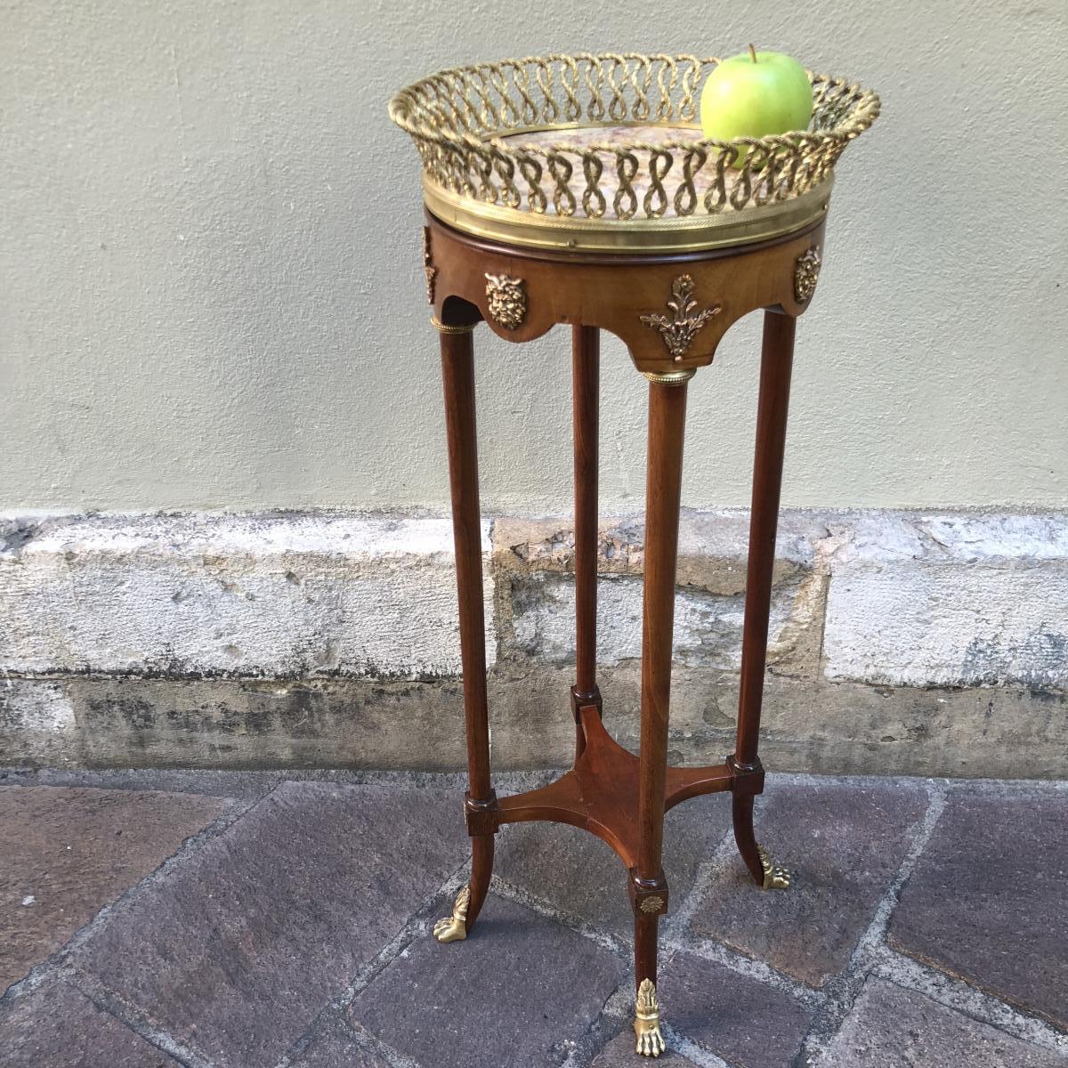 Pedestal Bolster XIXe Foot Table Claw Mahogany And Bronze