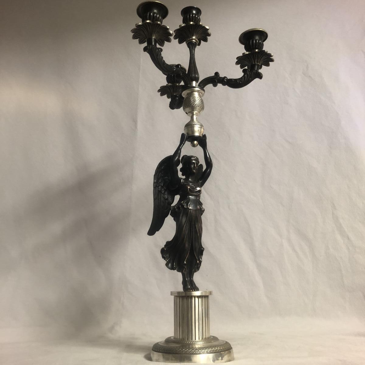 GRAND CANDELABRE FLAMBEAU époque EMPIRE à 4 bras de lumières en bronze XIXe