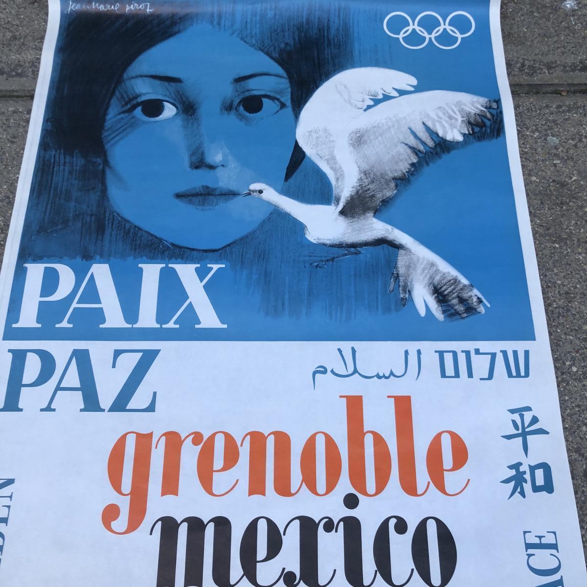 RARE JEUX OLYMPIQUES D'HIVER GRENOBLE 1968 Mexico Affiche ARCABAS Jean Marie PIROT sport