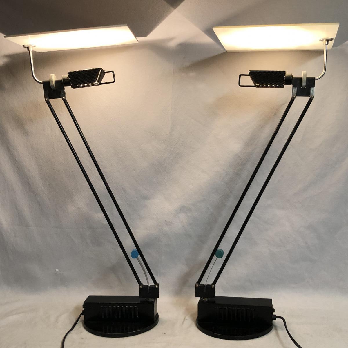 Sacha KETOFF paire de lampes articulées Modèle W.O. 1985 Editeur ALUMINOR lampe WO