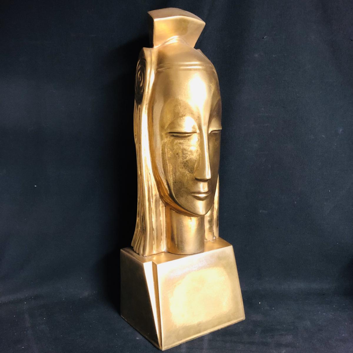 Gustave MIKLOS 1888-1967 (attribué) Tete de reine 59 cm en céramique dorée