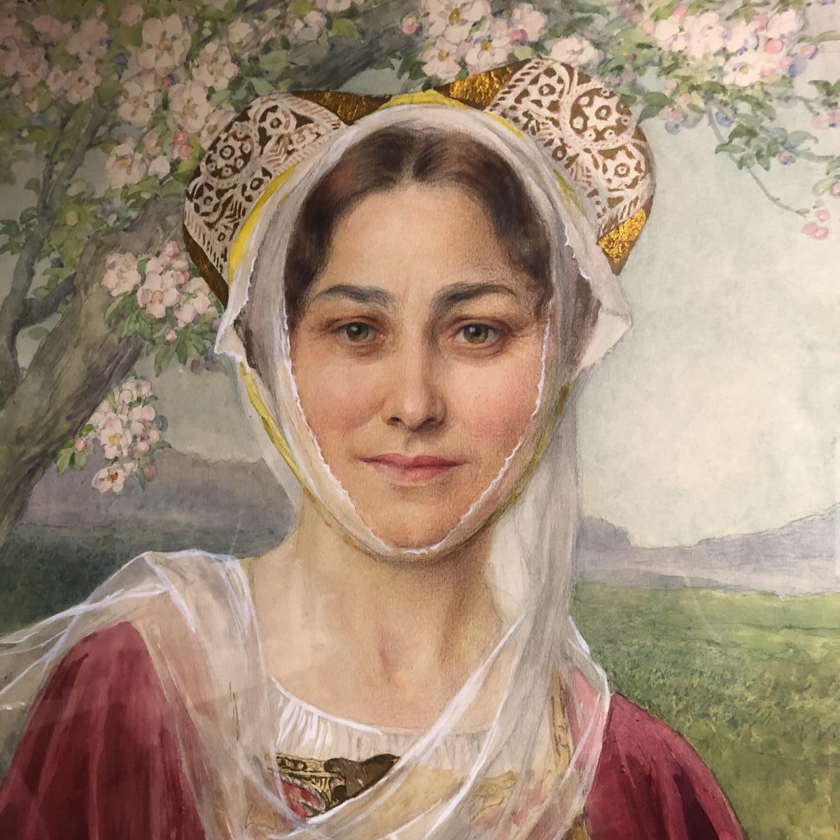 Elisabeth SONREL grande aquarelle Préraphaélite Jeune femme en costume Breton Art Nouveau