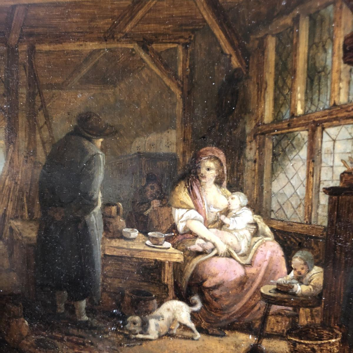 Jacques Albert Sénave 1758-1829 Huile sur panneau Scène d'intérieur XVIIIe SENAVE