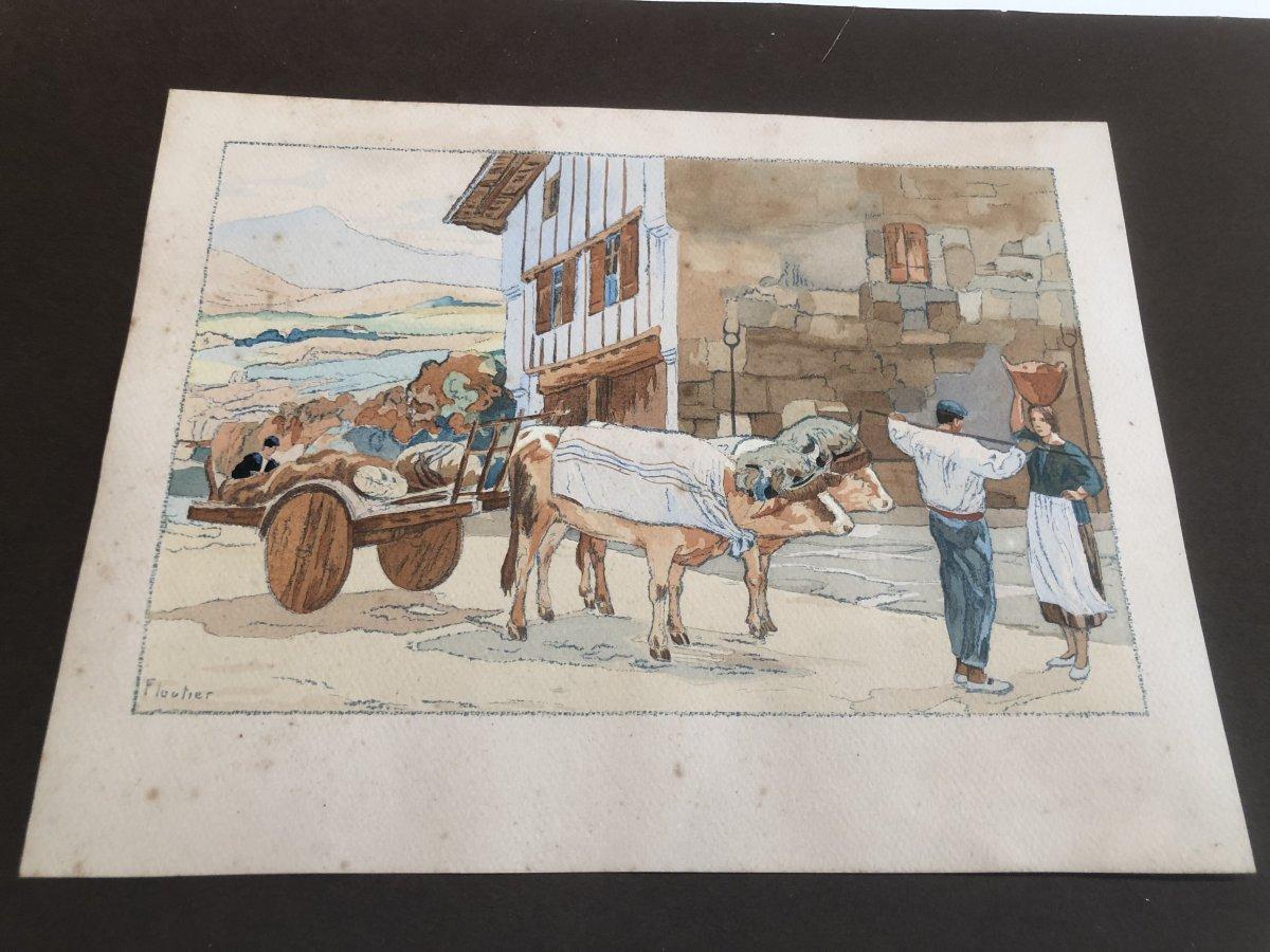 Louis Benjamin FLOUTIER Artiste Basque Gouache Basques Et Char à Bœufs