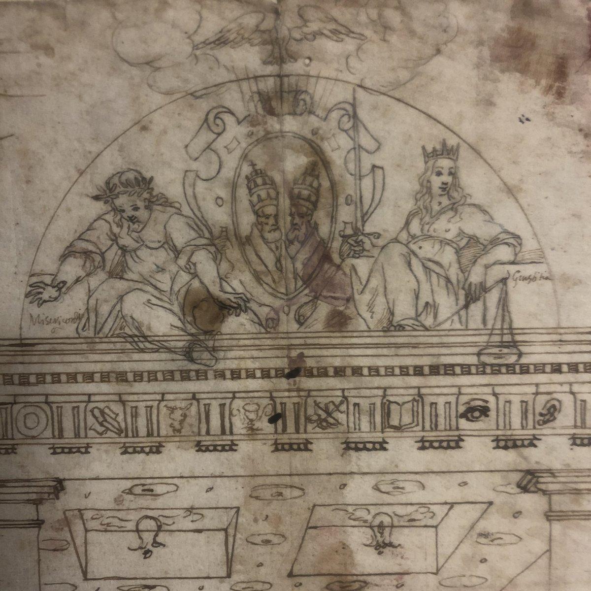 Dessin Italien à l'encre du XVIIe Portique avec 2 papes Annotations au dos pape