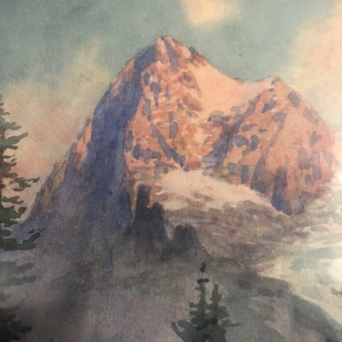 Edouard BRUN 1860-1935 Glacier dans les Alpes EIGER Suisse aquarelle massif montagne