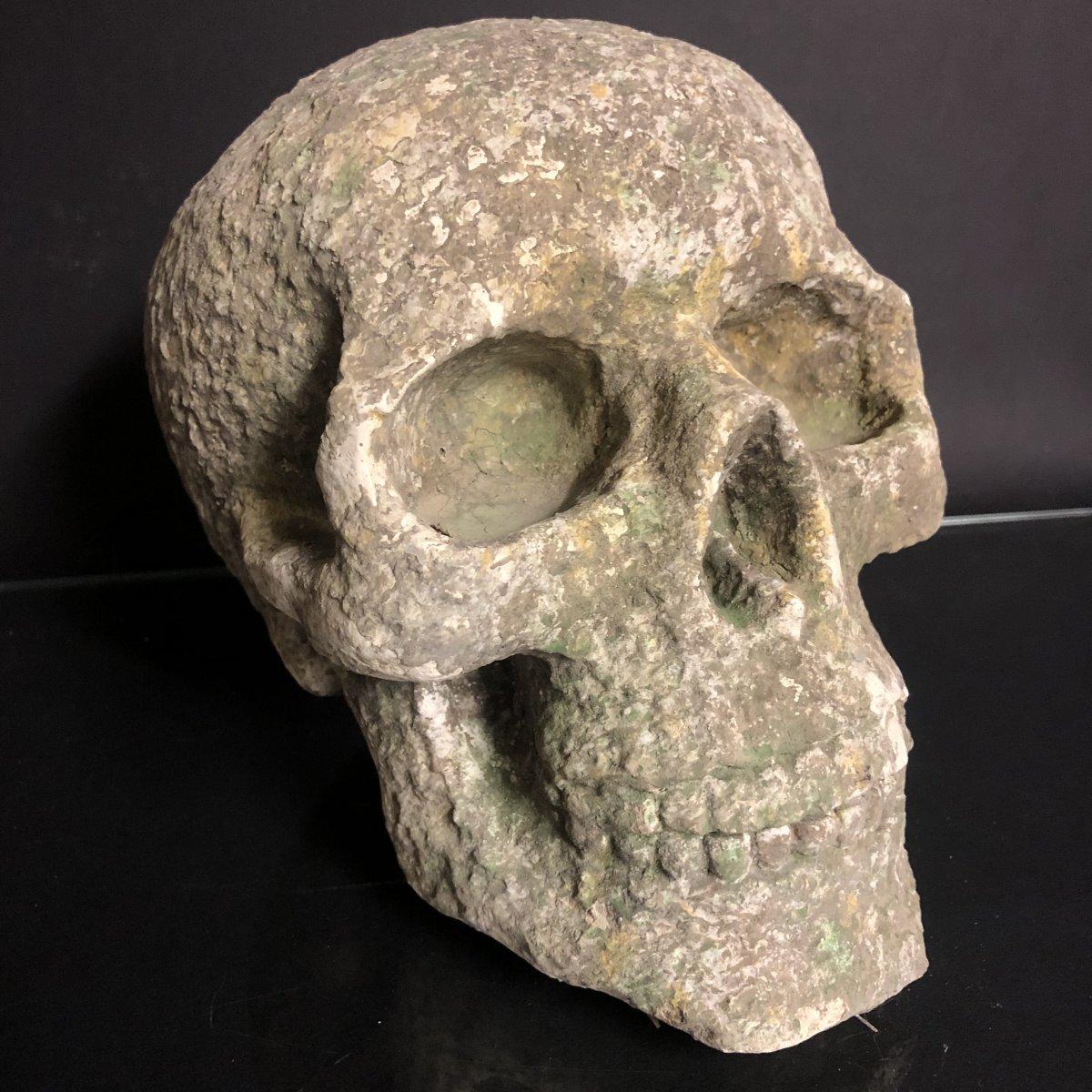 ANCIEN CRANE vanité en pierre reconstituée memento mori tête crâne curiosité