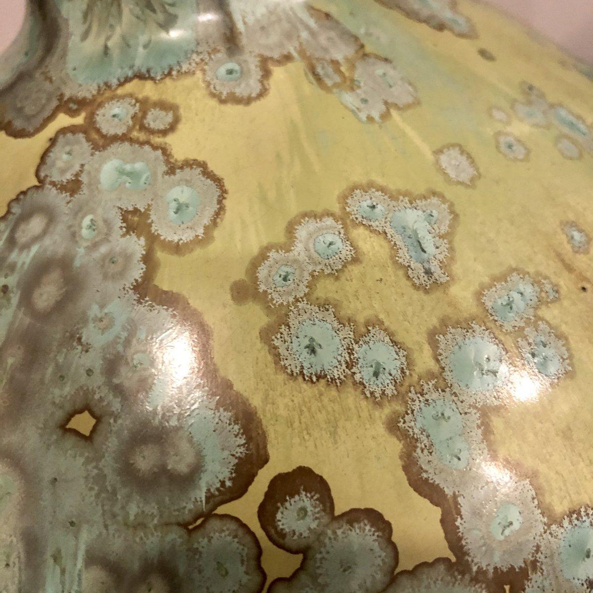 PIERREFONDS Vase en grès à anses détachées Art Deco Spectaculaires irisations-photo-2