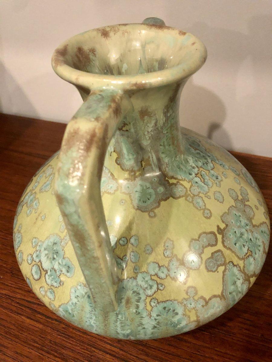 PIERREFONDS Vase en grès à anses détachées Art Deco Spectaculaires irisations-photo-3