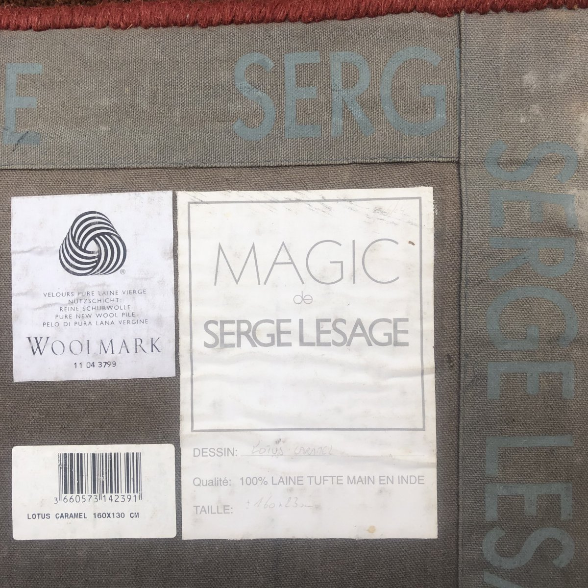 Serge LESAGE TAPIS laine vintage MAGIC Lotus caramel 160 x 230 cm TBE -photo-2