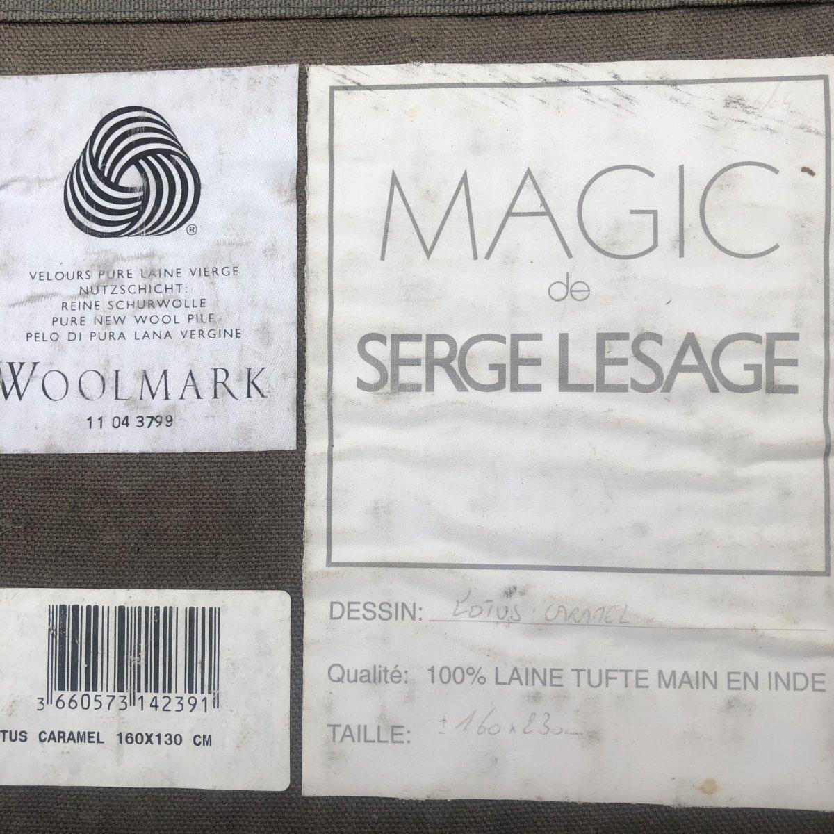 Serge LESAGE TAPIS laine vintage MAGIC Lotus caramel 160 x 230 cm TBE -photo-3