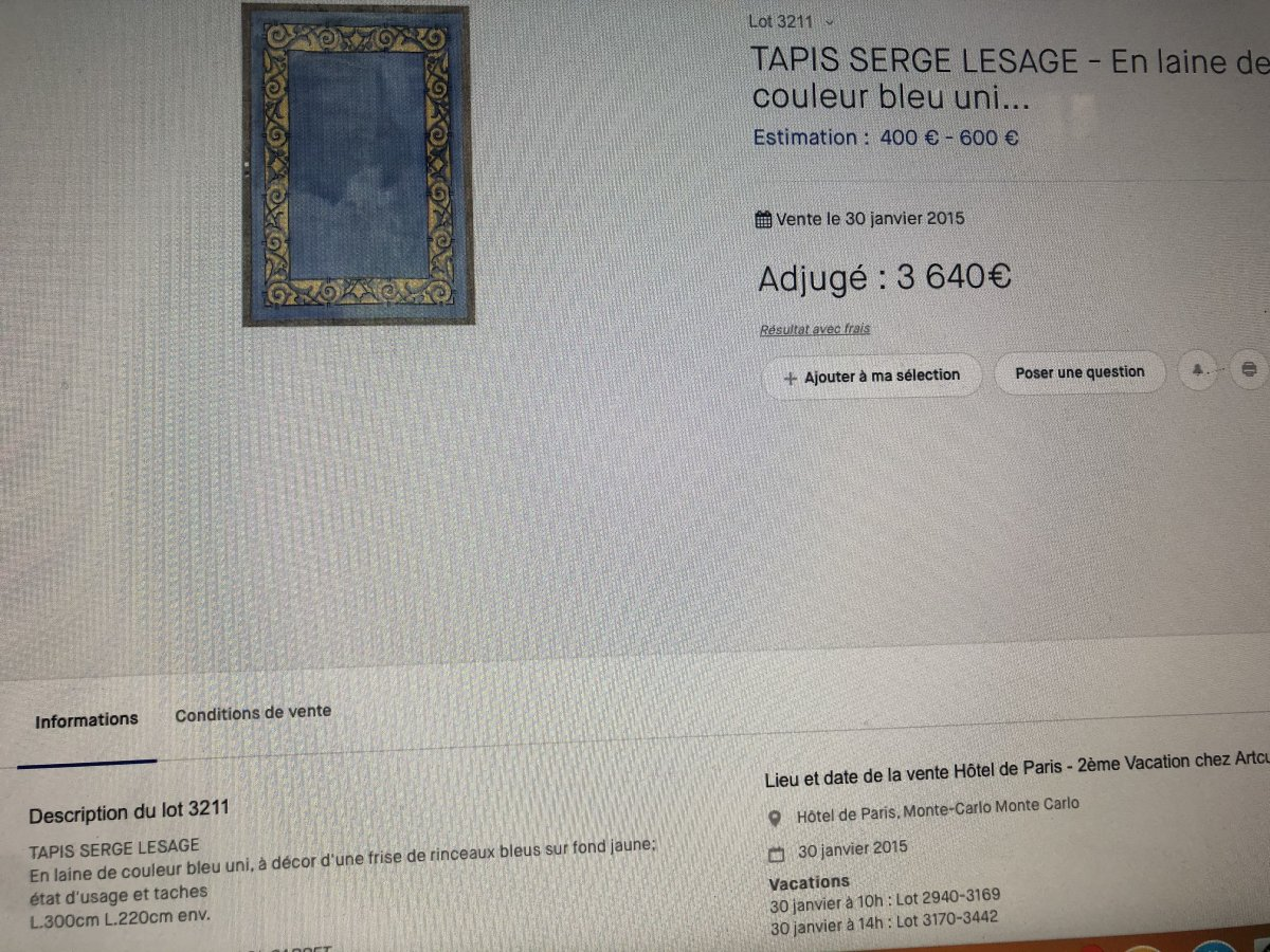 Serge LESAGE TAPIS laine vintage MAGIC Lotus caramel 160 x 230 cm TBE -photo-5