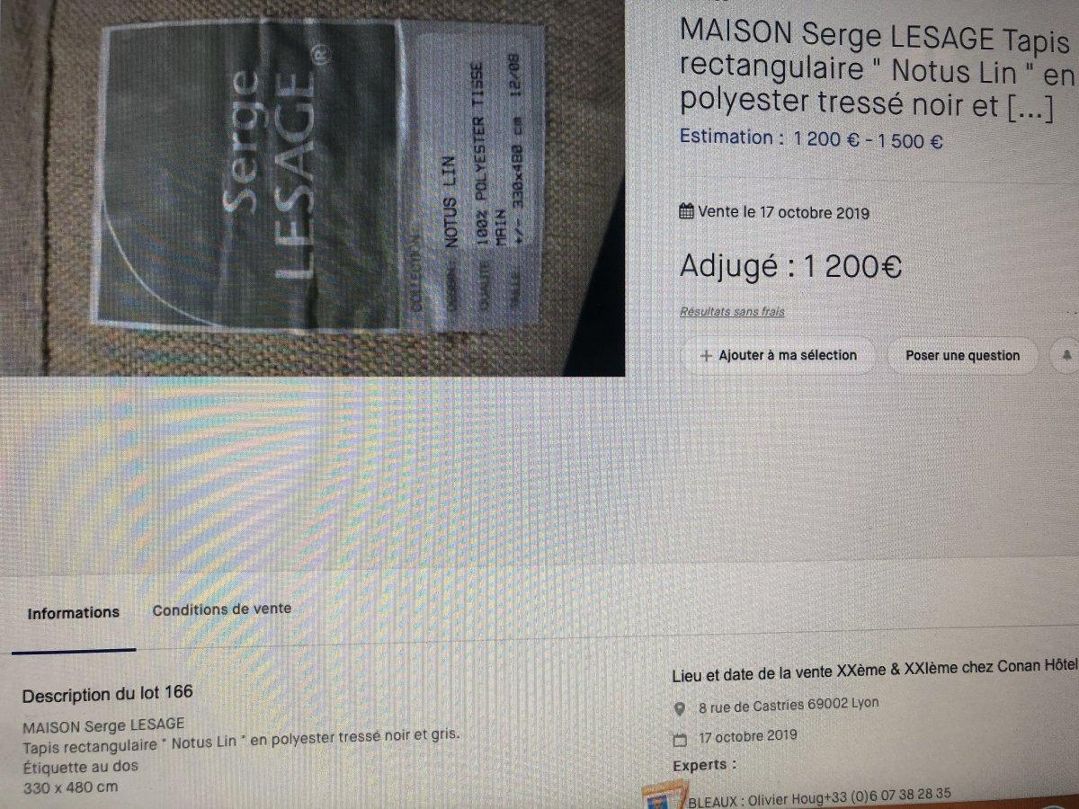 Serge LESAGE TAPIS laine vintage MAGIC Lotus caramel 160 x 230 cm TBE -photo-6