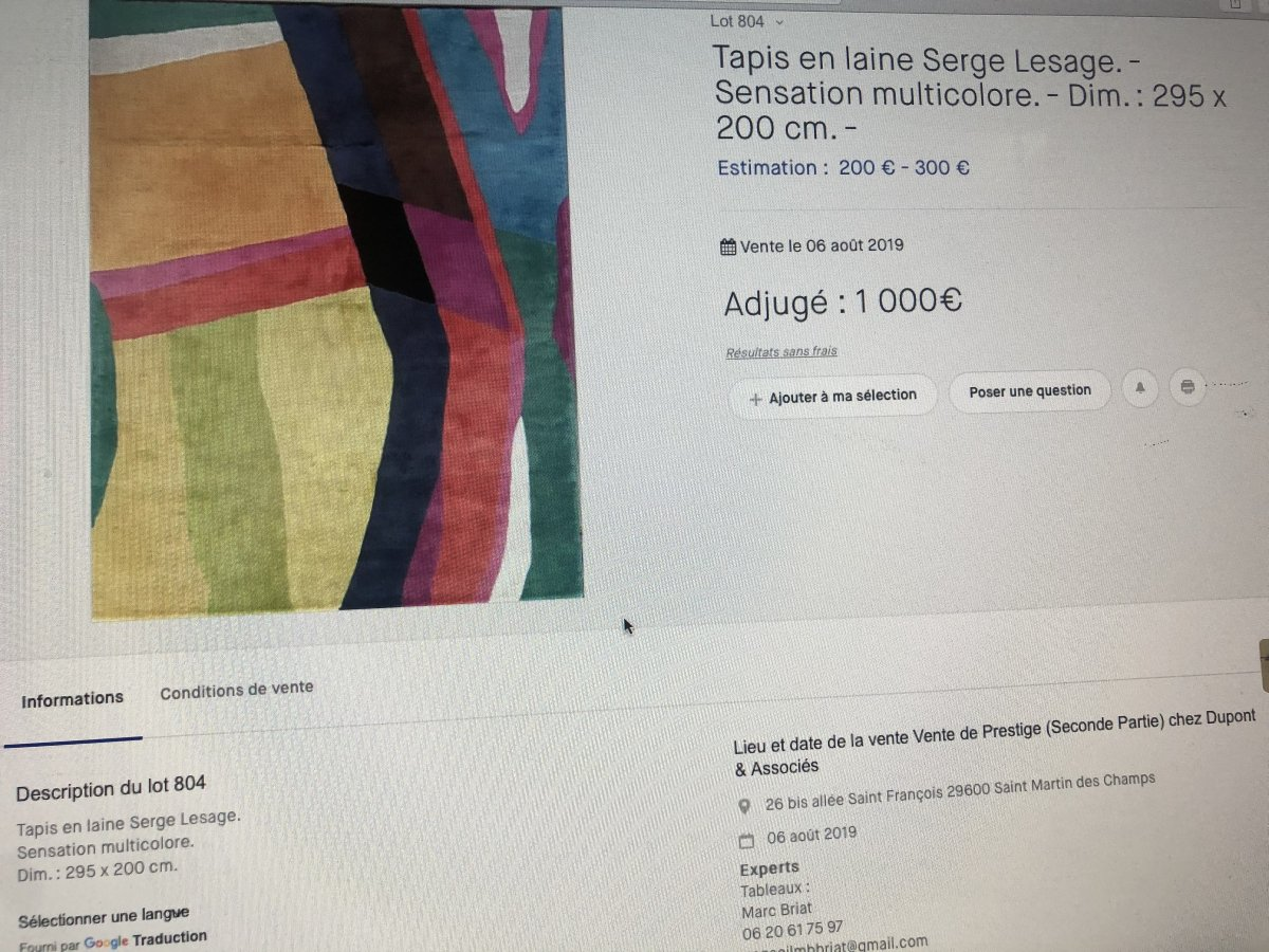 Serge LESAGE TAPIS laine vintage MAGIC Lotus caramel 160 x 230 cm TBE -photo-7