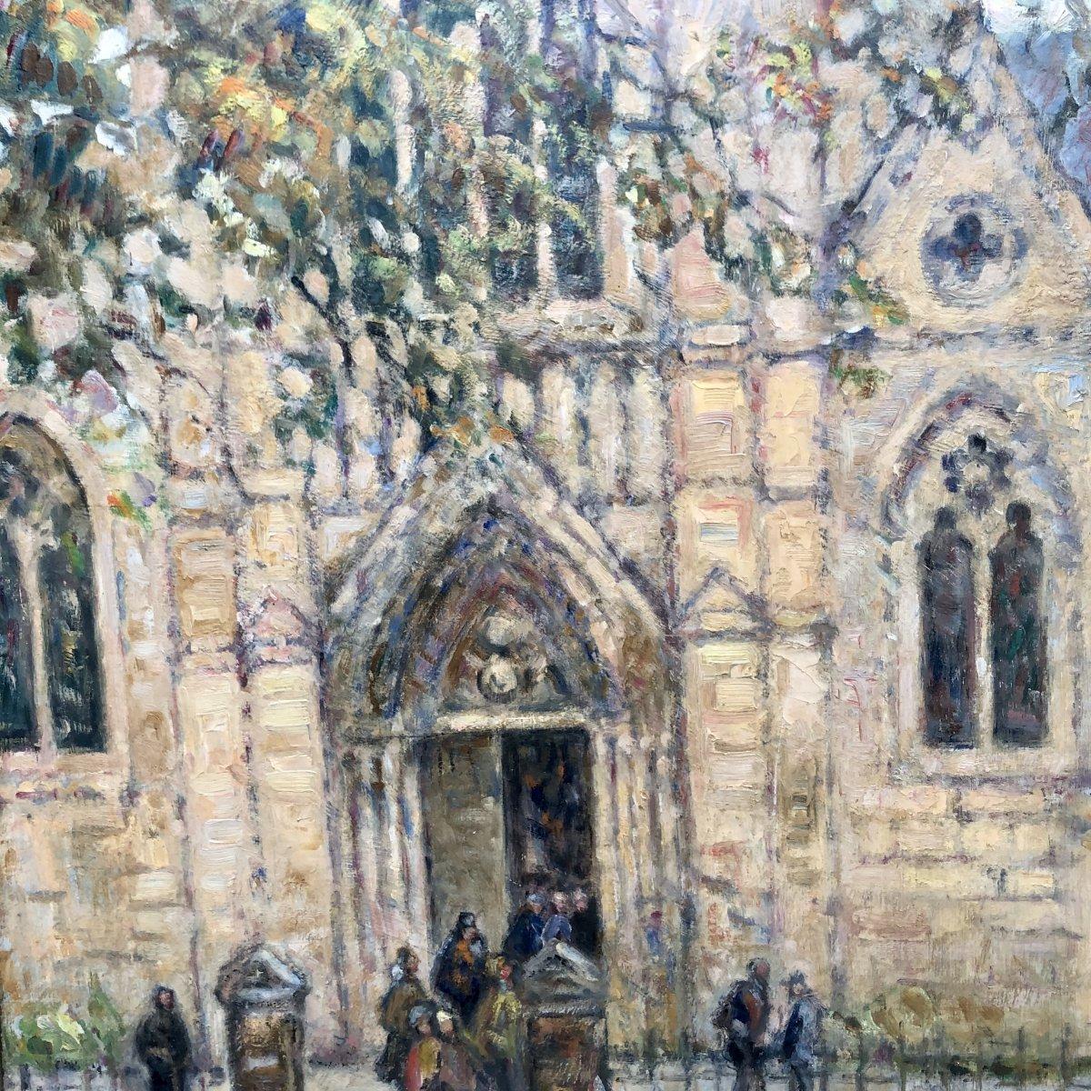 Jean Galland 1880-1958 Oil 1948 Mass Outing In Vals-les-bains Ardèche Saint Martin Church