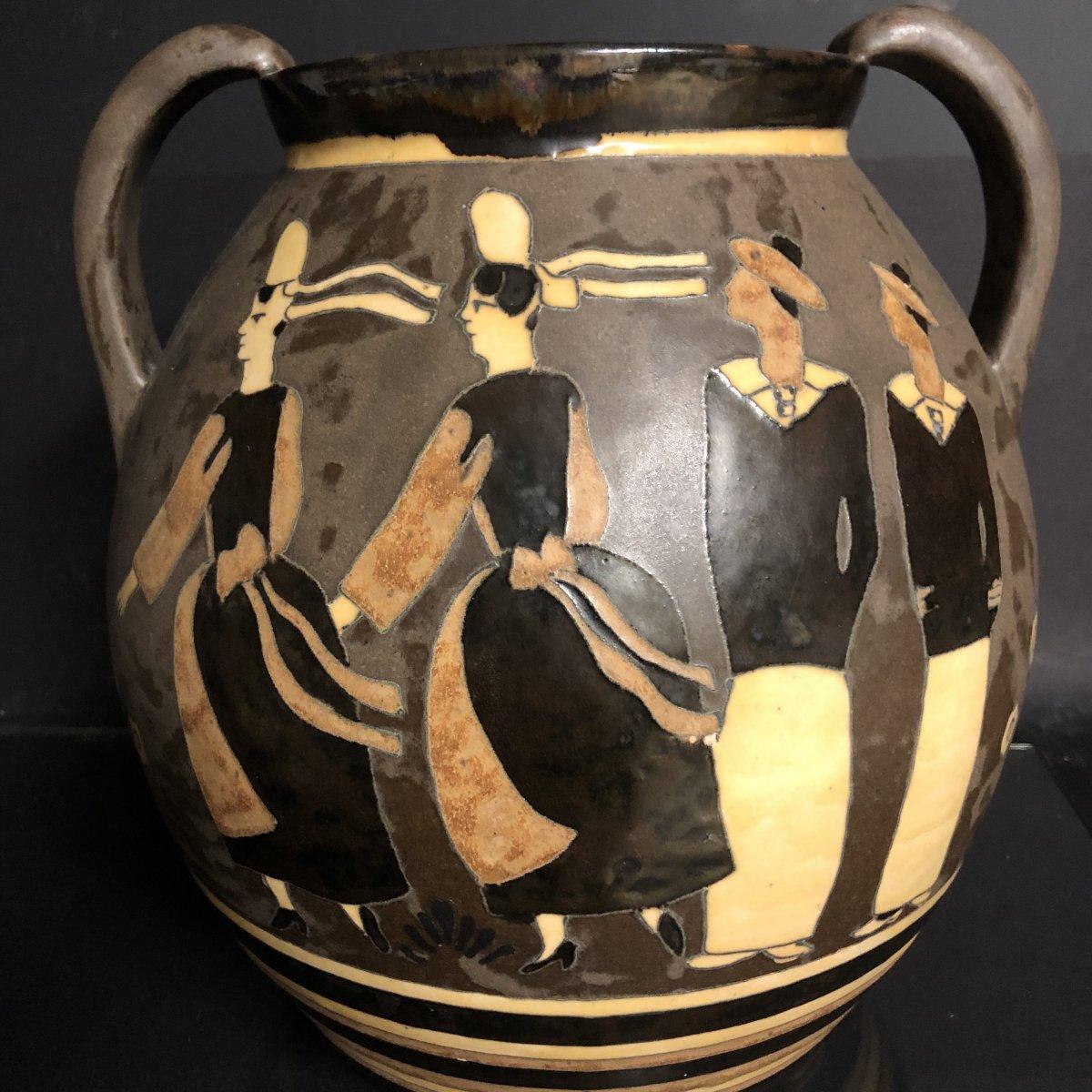 Jules Henriot Odetta Quimper Important Marines And Bigoudenes Vase, Double Sided Tbe Art Deco 1016