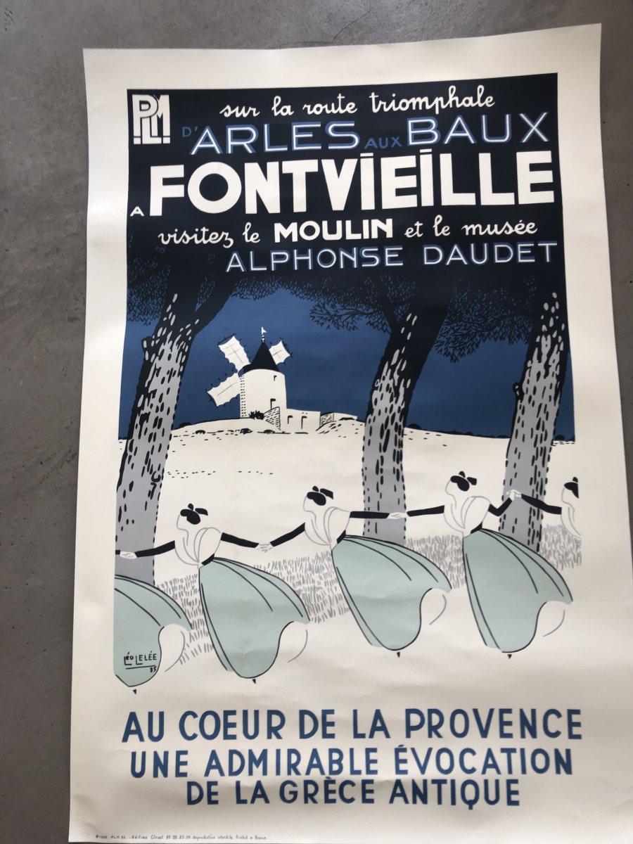Léo Lelée Ancienne Affiche PLM Fontvieille 93 X 63 Cm Alphonse Daudet