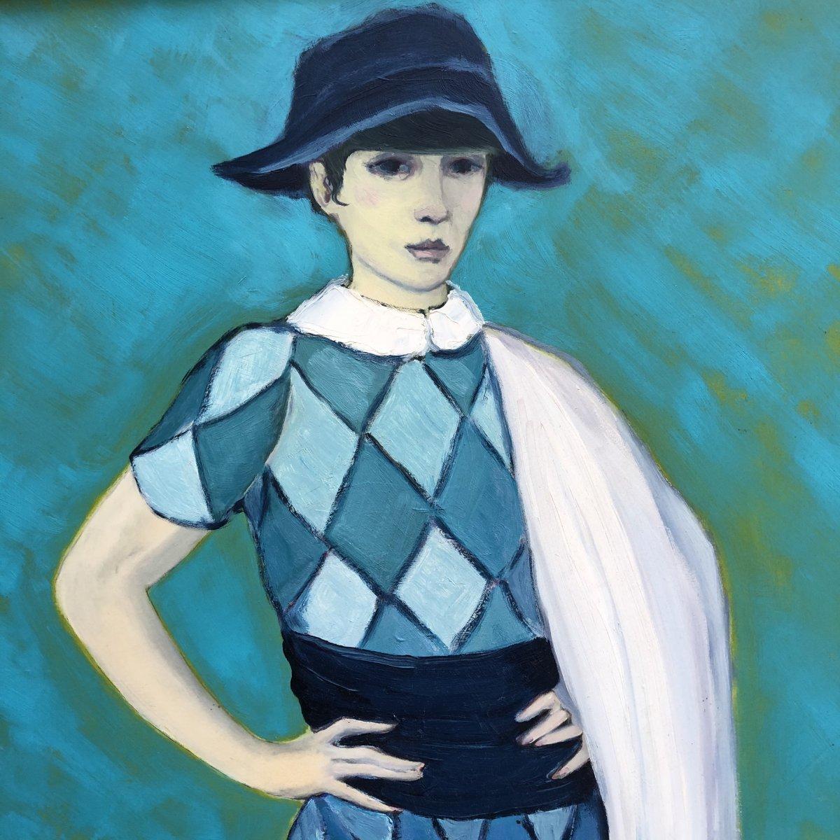 Michel Guerin 1940-2013 Large Oil On Arlequin Blue Panel Harlequin