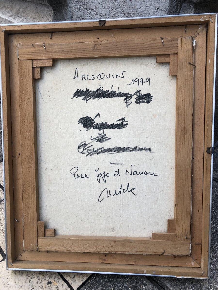 Michel GUERIN 1940-2013 Huile sur toile  ARLEQUIN AU MASQUE -photo-3