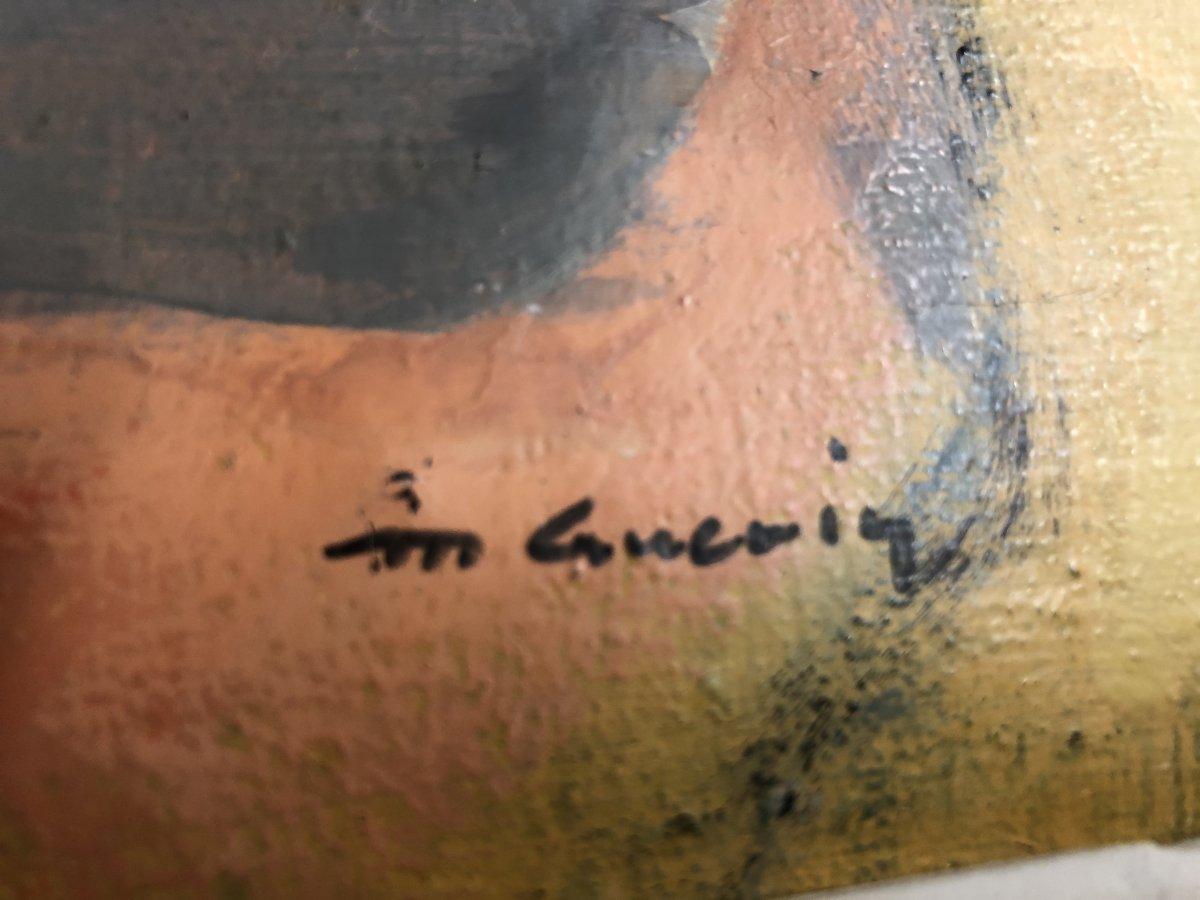 Michel GUERIN 1940-2013 Huile sur toile  ARLEQUIN AU MASQUE -photo-4