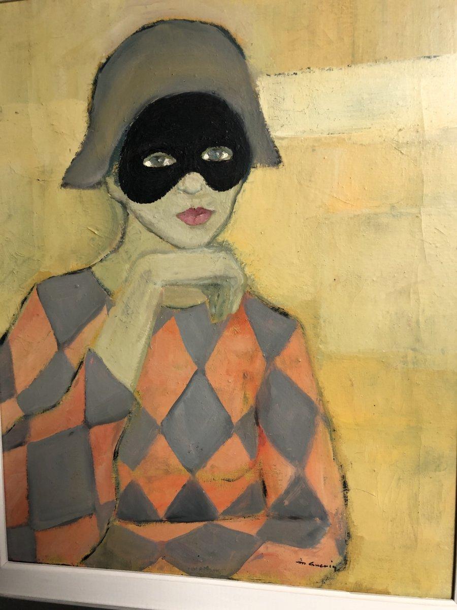 Michel GUERIN 1940-2013 Huile sur toile  ARLEQUIN AU MASQUE -photo-2