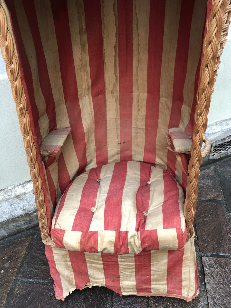 Charming Cabin Beach Armchair 1900 In Woven Rattan And Two-tone Fabric Ocean Sea
