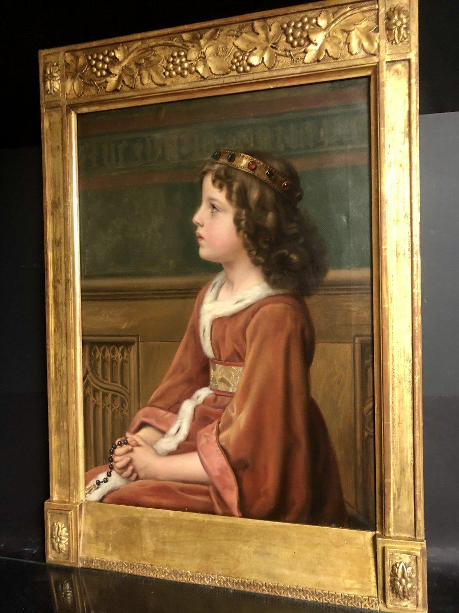 Jean Baptiste ANTONY XIXe Grande huile préraphaélite Reine  couronne