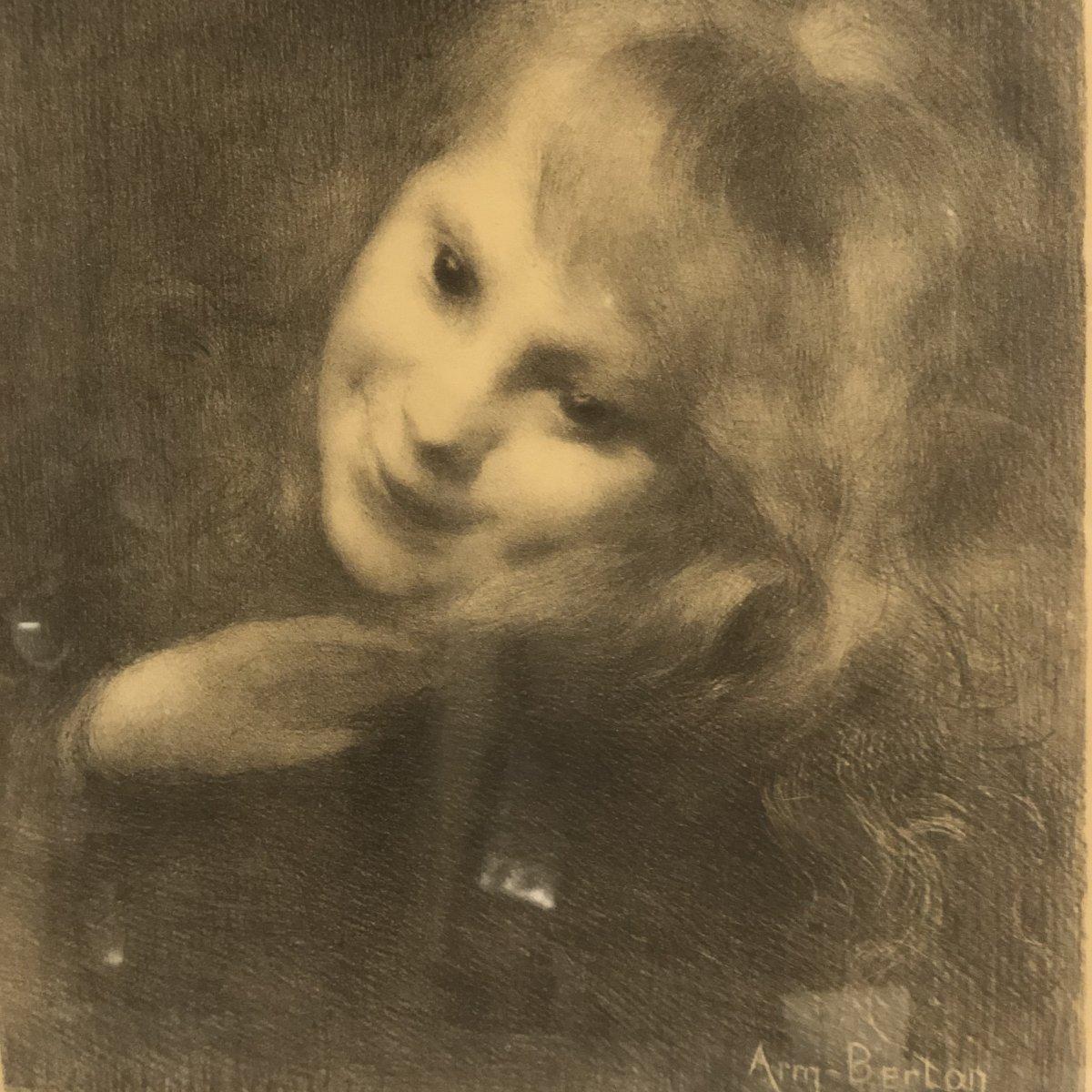 Armand BERTON 1854-1917 LA RIEUSE 1897 Lithographie symboliste