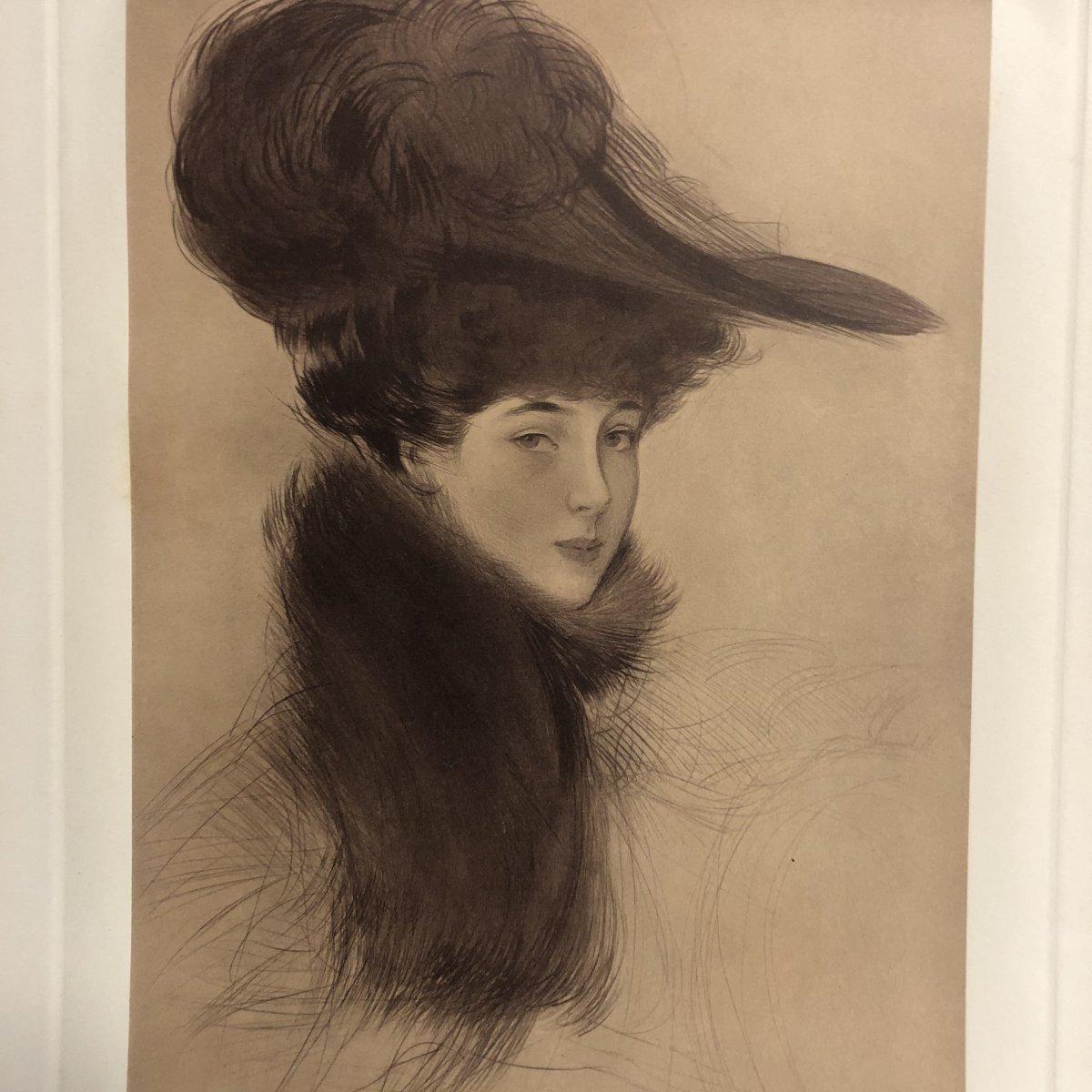 Paul Cesar HELLEU 1859-1927 Lithographie  LA DUCHESSE de MARLBOROUGH signé  EN TBE césar