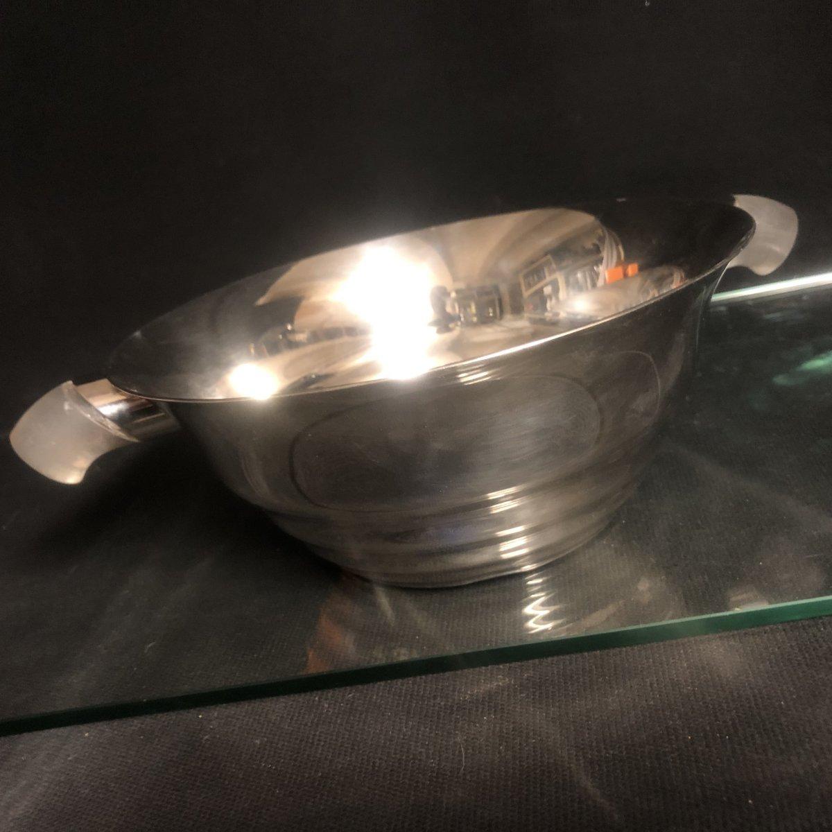 Maison Puiforcat Goldsmith Rare Cup With Art Deco Handles