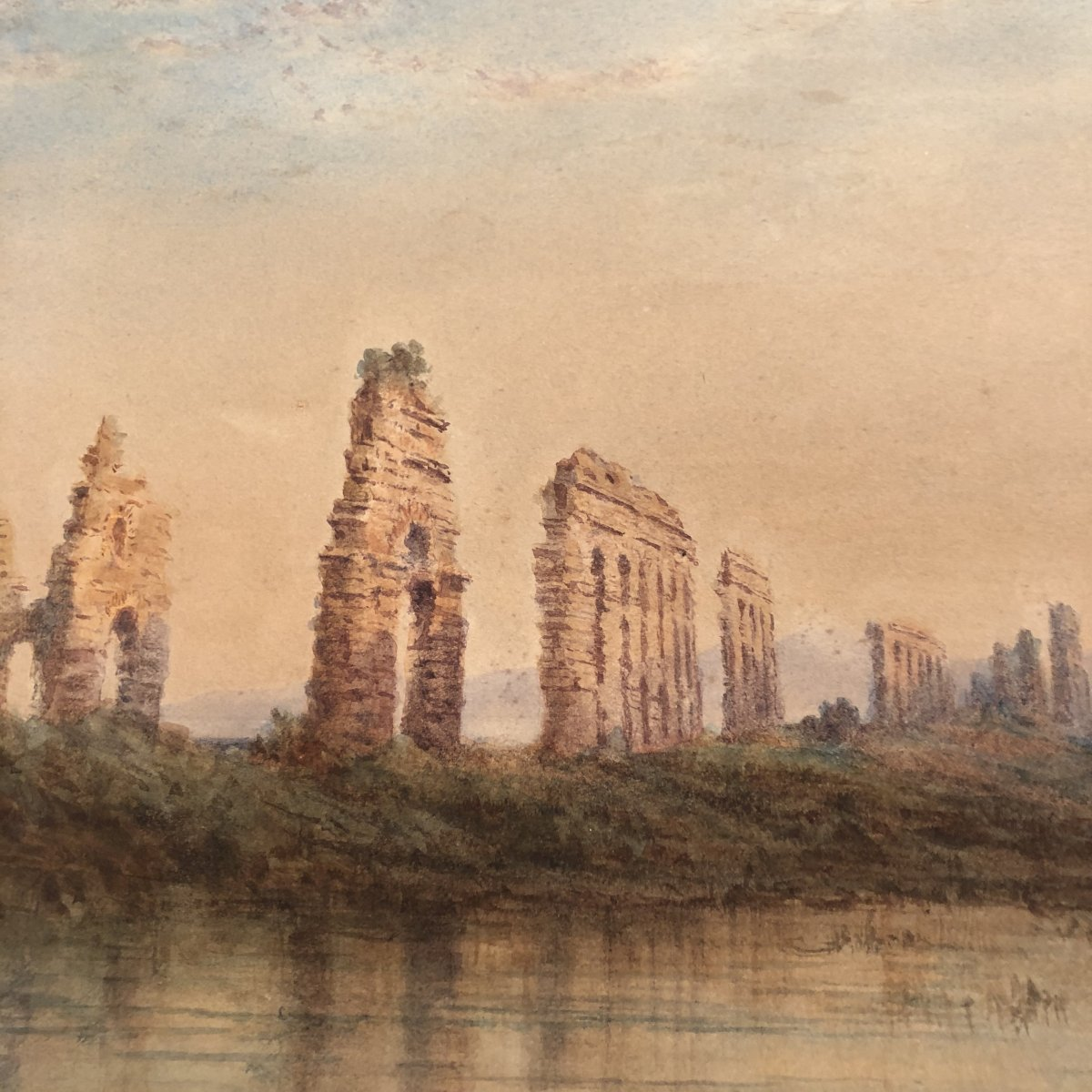 Herbert Hughes Stanton 1870-1937 Large 19th Century Watercolor Signed Antique Aqueduct To Rome Italy