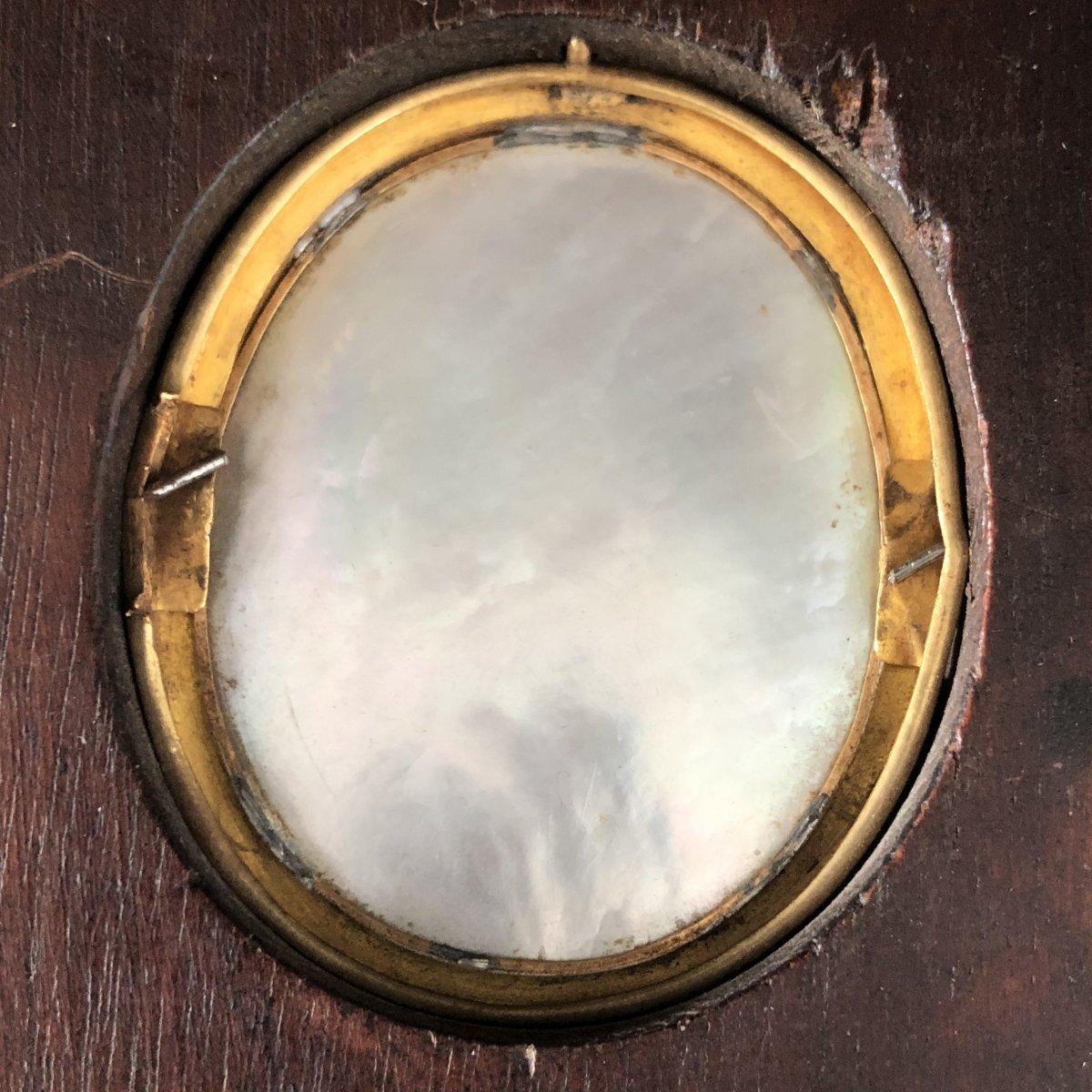 Mélanie BOST 1810- Miniature sur nacre sertie d' or dans un cadre en palissandre JEUNE GARÇON-photo-4