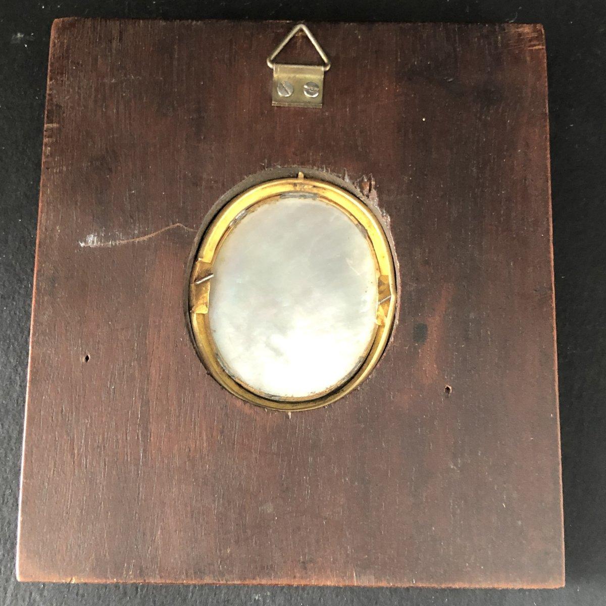 Mélanie BOST 1810- Miniature sur nacre sertie d' or dans un cadre en palissandre JEUNE GARÇON-photo-1