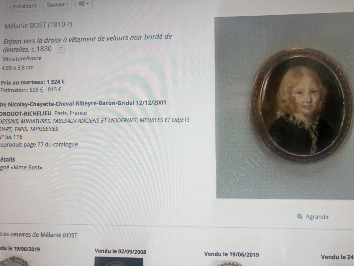 Mélanie BOST 1810- Miniature sur nacre sertie d' or dans un cadre en palissandre JEUNE GARÇON-photo-5
