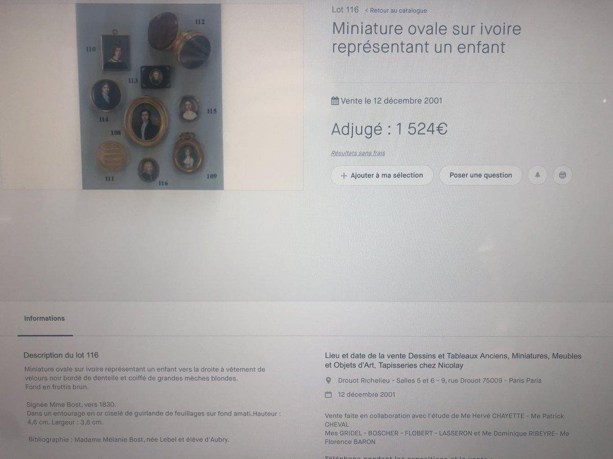 Mélanie BOST 1810- Miniature sur nacre sertie d' or dans un cadre en palissandre JEUNE GARÇON-photo-6