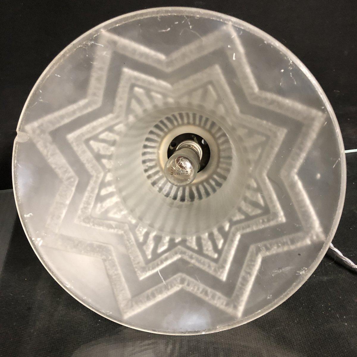 DAUM Nancy France GRANDE LAMPE OBUS 50,5 cm Art Deco 1930 EN TBE-photo-6
